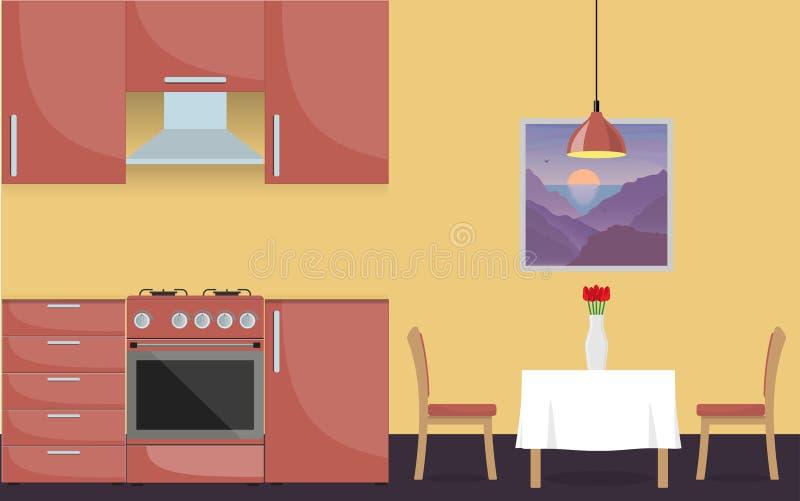 现代时髦的厨房内部 厨房家具、煤气炉、餐桌和花瓶有花的 在平的猪圈的传染媒介例证 皇族释放例证