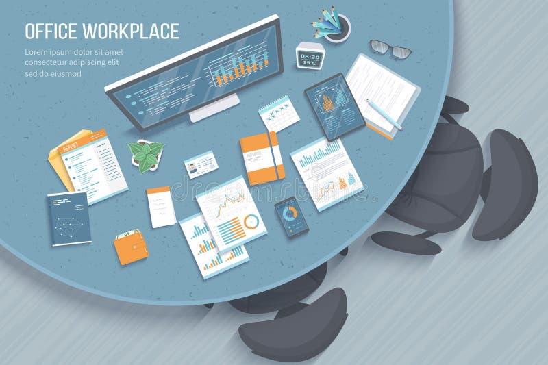 现代时髦的圆的书桌顶视图在办公室,椅子,办公用品,文件 图,在显示器屏幕上的图表 皇族释放例证