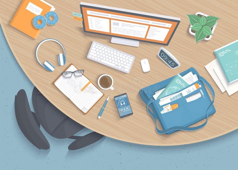 现代时髦的圆的木书桌顶视图在办公室,椅子,办公用品,文件夹,袋子 向量例证