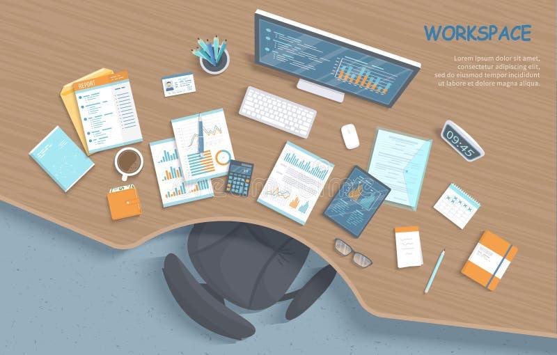 现代时髦的木书桌顶视图在办公室,椅子,办公用品,文件 您所有企业需要工作的工作场所 向量例证