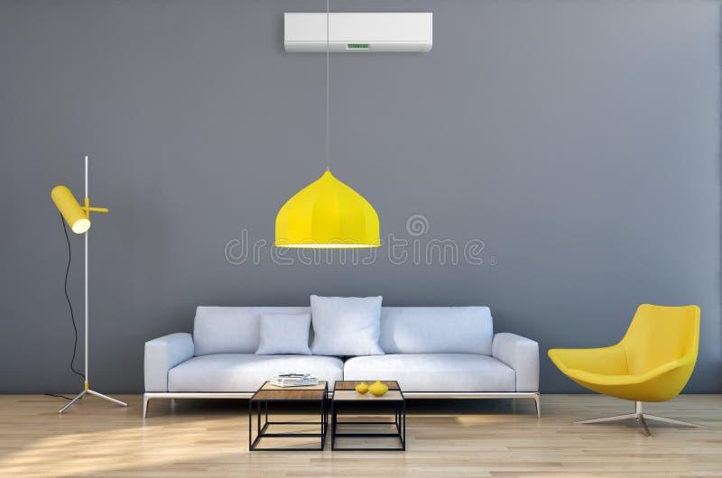 现代明亮的内部公寓客厅以空气情况 皇族释放例证