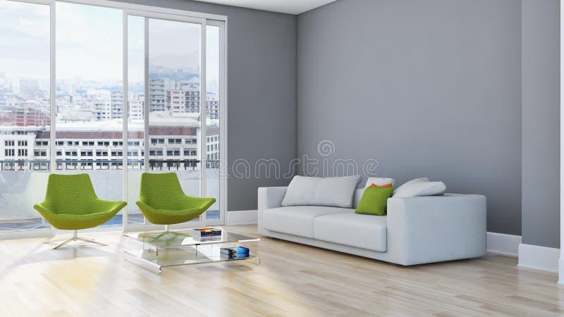 现代明亮的内部公寓客厅3D翻译illus 向量例证
