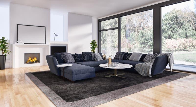 现代明亮的内部公寓3D翻译例证 免版税图库摄影