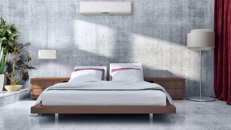 现代明亮的床室内部3D翻译例证compu 图库摄影