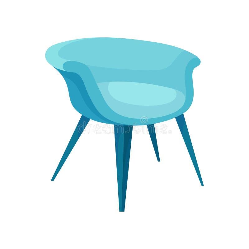 现代明亮的蓝色扶手椅子平的传染媒介象有长的腿的 时髦的被缓冲的家具 舒适的软的椅子 向量例证