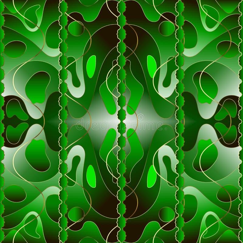 现代明亮的3d绿色摘要传染媒介无缝的样式 创造性的时髦装饰物察觉了背景 重复五颜六色镶边 皇族释放例证