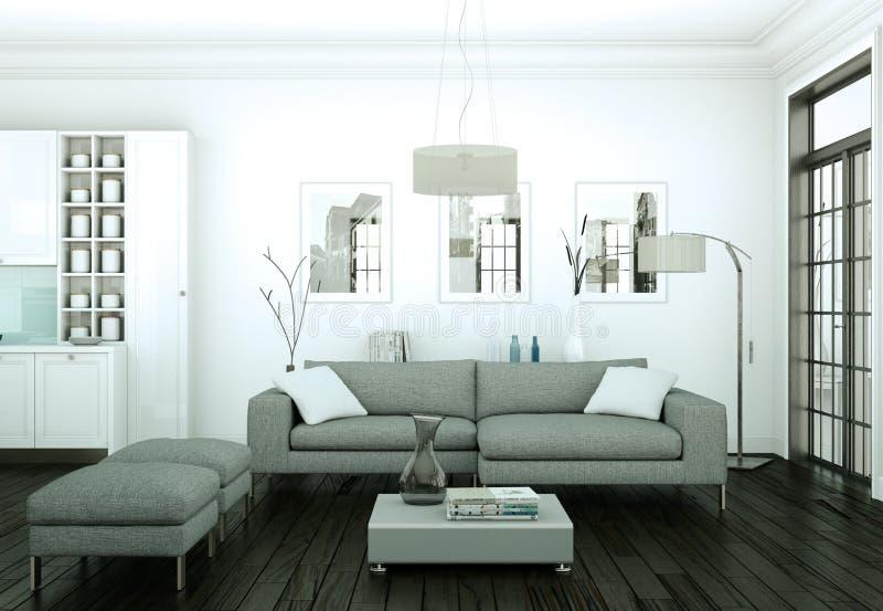 现代明亮的skandinavian室内设计公寓 免版税图库摄影
