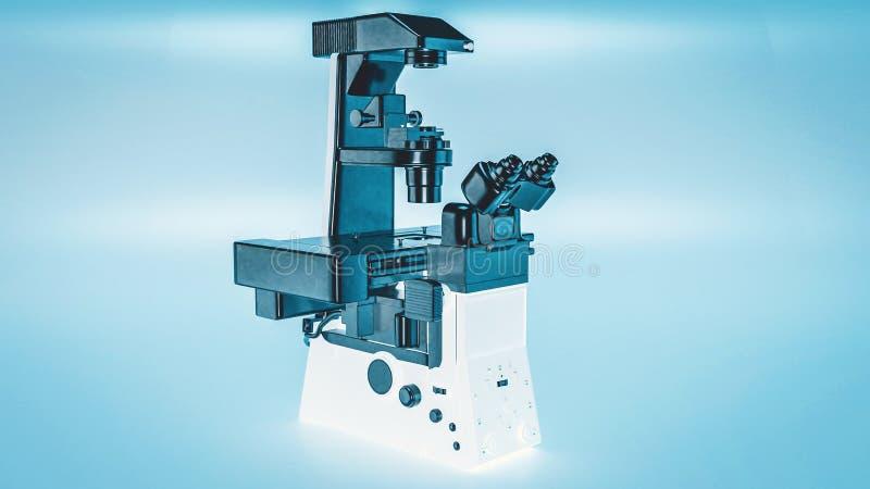 现代显微镜倒置显微镜 库存例证