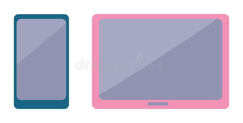现代智能手机和时髦的宽银幕片剂 向量例证