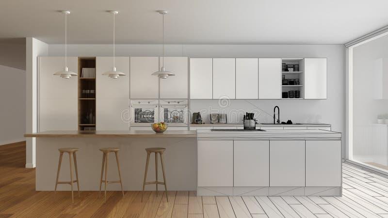 现代最低纲领派白色和木厨房未完成的项目草稿有海岛和大全景窗口的,木条地板,吊灯 库存图片