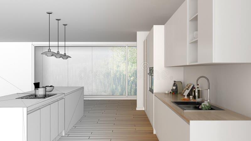 现代最低纲领派白色和木厨房未完成的项目草稿有海岛和大全景窗口的,木条地板, 皇族释放例证