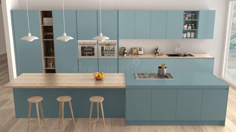 现代最低纲领派蓝色和木厨房有海岛和大全景窗口的,木条地板,吊灯,当代建筑学 皇族释放例证