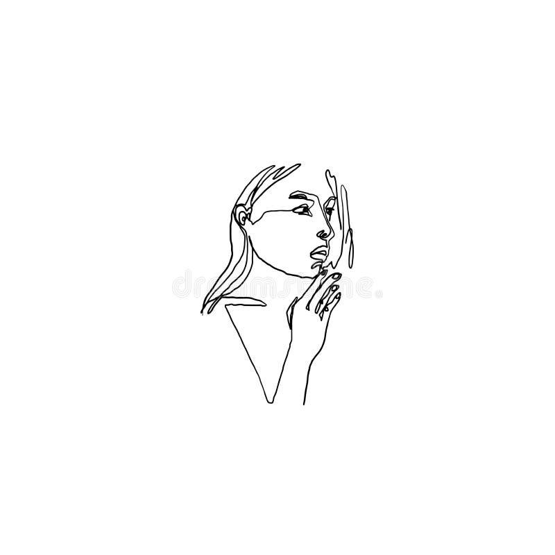 现代最低纲领派键盘乐器的低音部线女性画象 时髦抽象例证 艺术轻的向量世界 有详细的面孔的妇女 库存例证