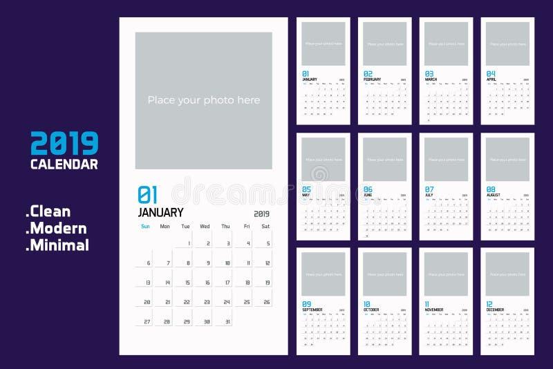现代最小的垂直的日历计划者模板在2019年 传染媒介设计编辑可能的模板 库存例证