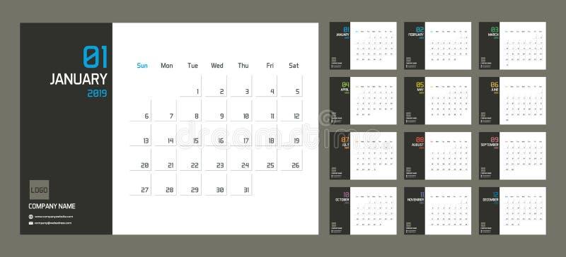 现代最小的日历计划者模板在2019年 与套的传染媒介设计编辑可能的模板12页为十二个月 皇族释放例证