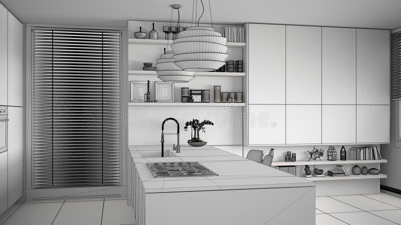 现代有煤气炉的厨房,海岛和水槽未完成的项目草稿有架子和内阁的 当代客厅 向量例证