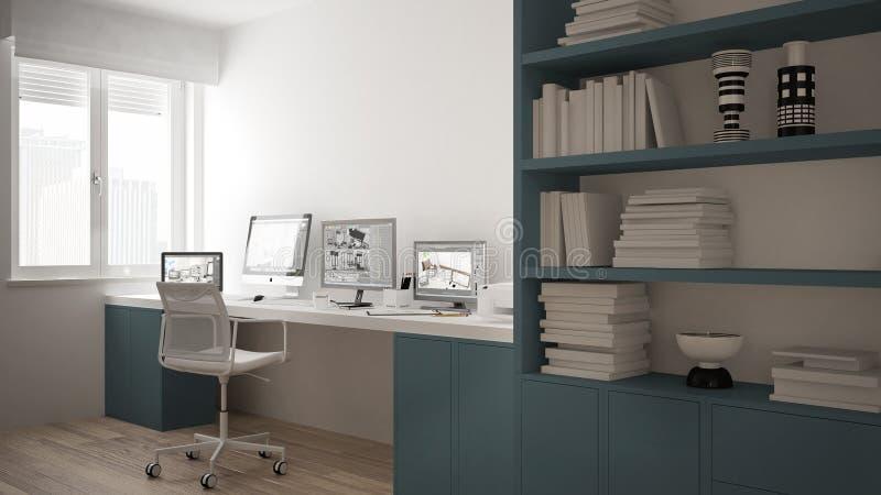 现代有计算机的工作场所在最低纲领派房子里,书桌,大书架,舒适白色和蓝色建筑学内部 免版税库存图片