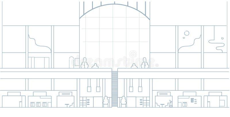 现代有许多精品店零售店设计剪影的购物中心内部大超级市场乱画水平 皇族释放例证