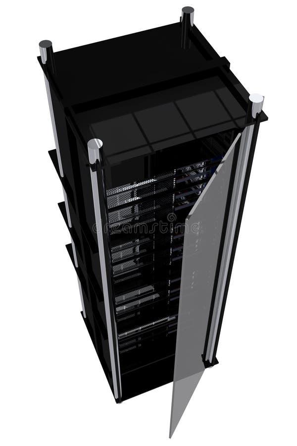 现代服务器机架 库存例证