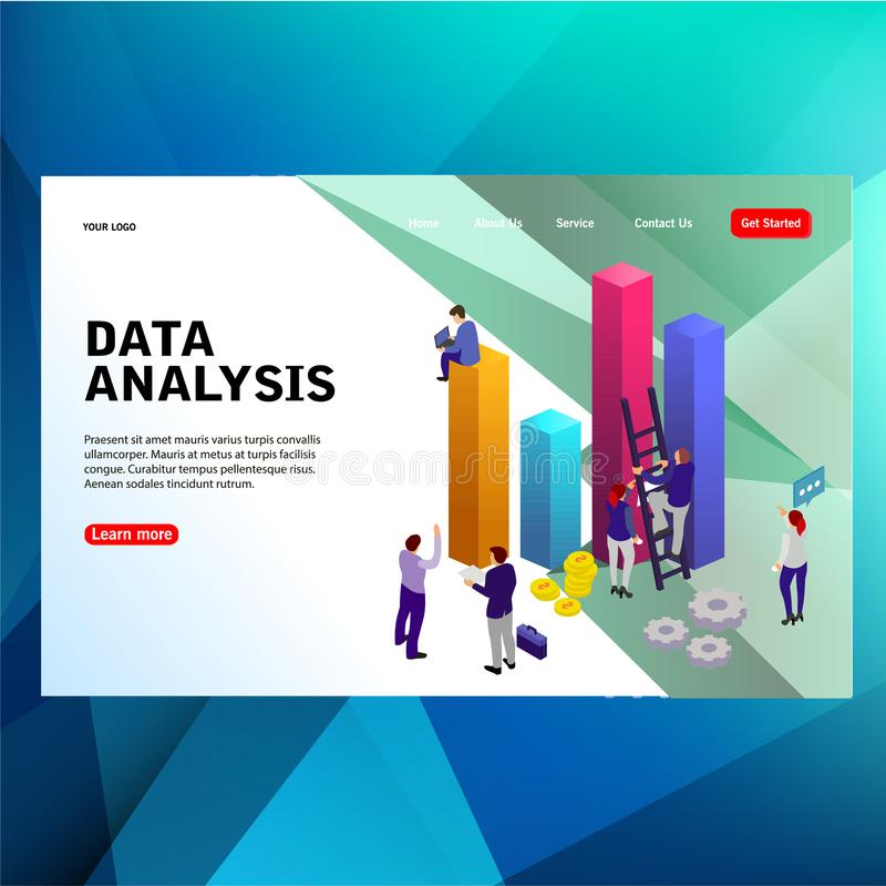 现代未来派与数据分析词传染媒介例证概念的模板概念工作队人民大图,可能使用为, 库存例证