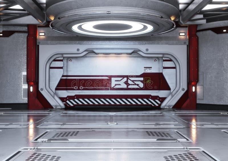 现代未来派太空飞船内部背景 库存例证
