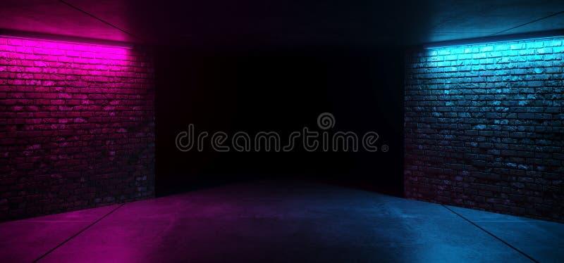 现代未来派科学幻想小说减速火箭的典雅的俱乐部迪斯科聚会霓虹发光的紫色变粉红色蓝色有发光的难看的东西砖具体室 向量例证