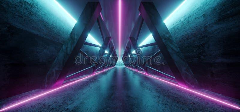 现代未来派科学幻想小说太空飞船三角黑暗的空的走廊 向量例证