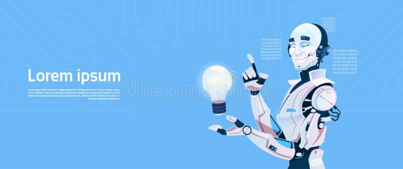 现代机器人举行电灯泡,未来派人工智能机制技术 库存例证