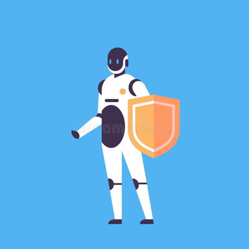 现代机器人举行盾人工智能保护技术蓝色背景概念马胃蝇蛆帮手平展充分 向量例证
