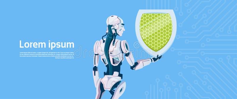 现代机器人举行盾数据保护概念,未来派人工智能机制技术 向量例证
