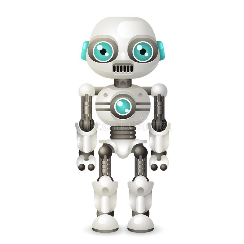 现代机器人在白色背景3d现实设计象传染媒介隔绝的机器人字符人工智能 皇族释放例证