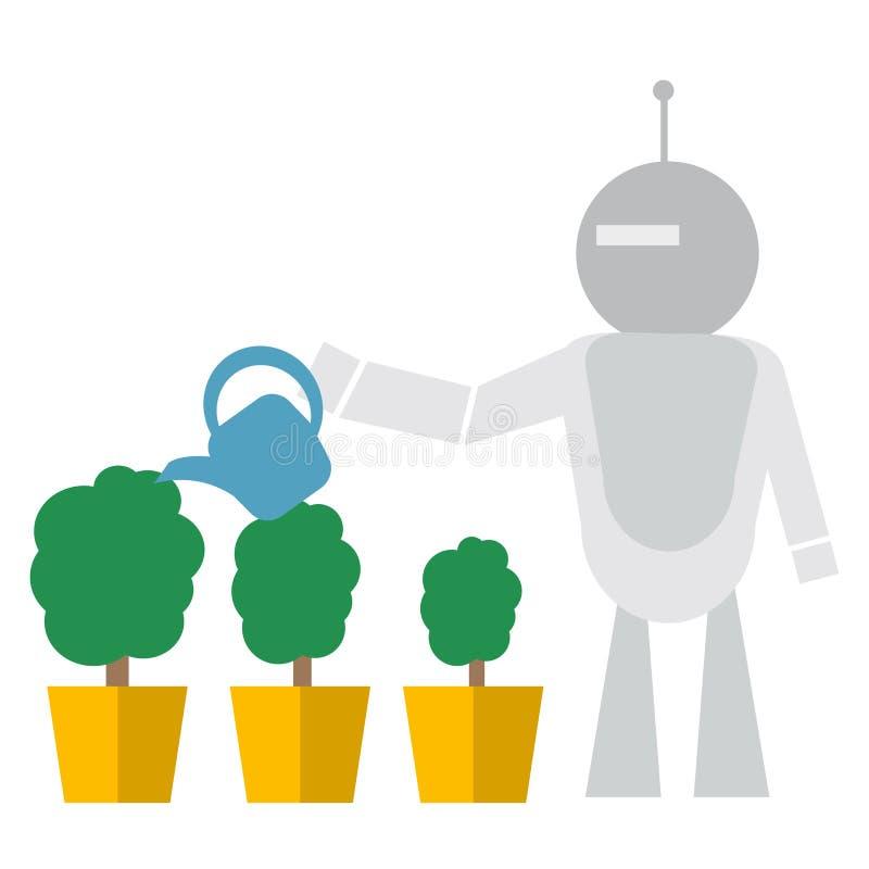 现代机器人浇灌的花技术概念平的传染媒介例证 皇族释放例证