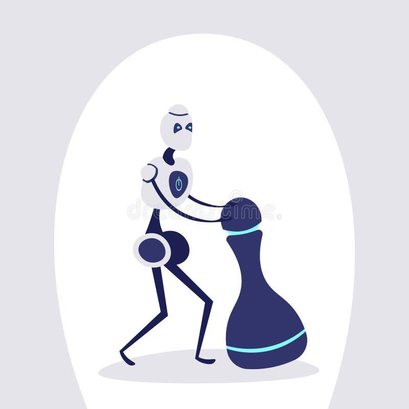 现代机器人移动的棋形象平战略战术概念未来派人工智能机制的技术 皇族释放例证
