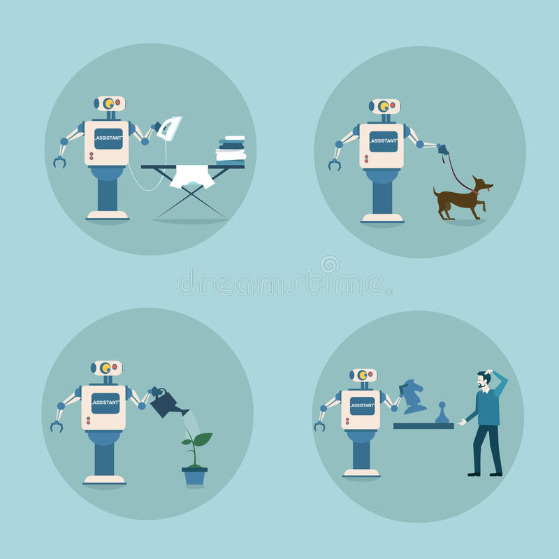 现代机器人象集合未来派人工智能机制家务技术 库存例证