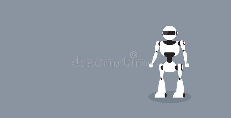 现代机器人逗人喜爱的靠机械装置维持生命的人字符身分摆在人工智能未来技术水平概念的剪影 向量例证