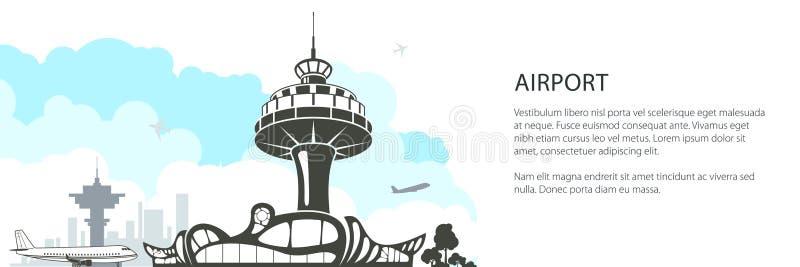 现代机场横幅 库存例证