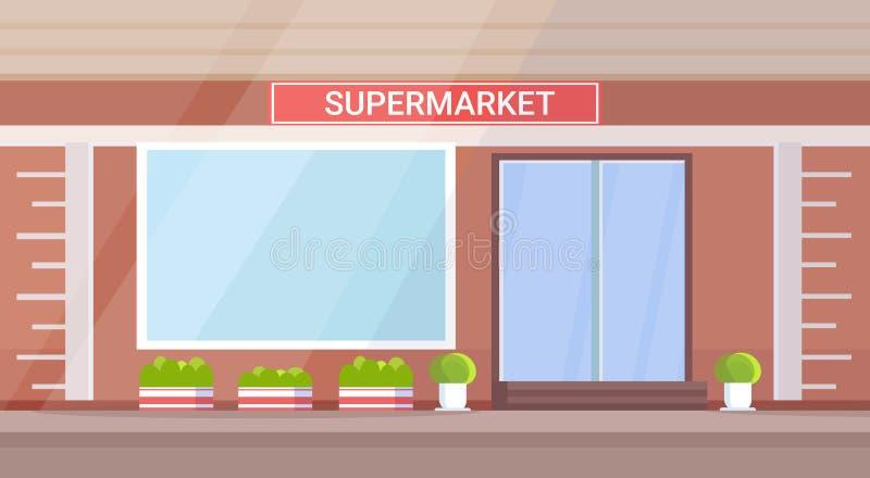 现代杂货店超级市场外部空没有人街道水平的舱内甲板 库存例证