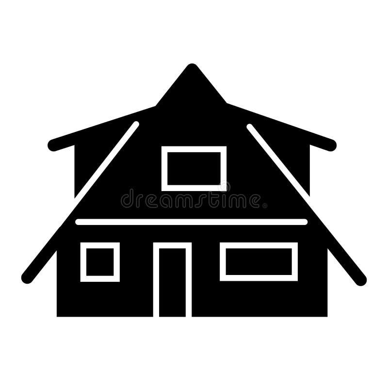 现代村庄坚实象 小屋在白色隔绝的传染媒介例证 农村小屋纵的沟纹样式设计,被设计 向量例证
