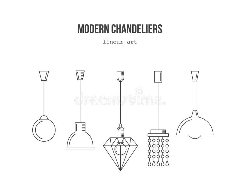 现代枝形吊灯-线性集合 库存例证