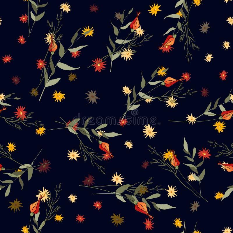 现代植物的背景 手拉的向量例证 民间花,玫瑰 无缝花卉的模式 皇族释放例证
