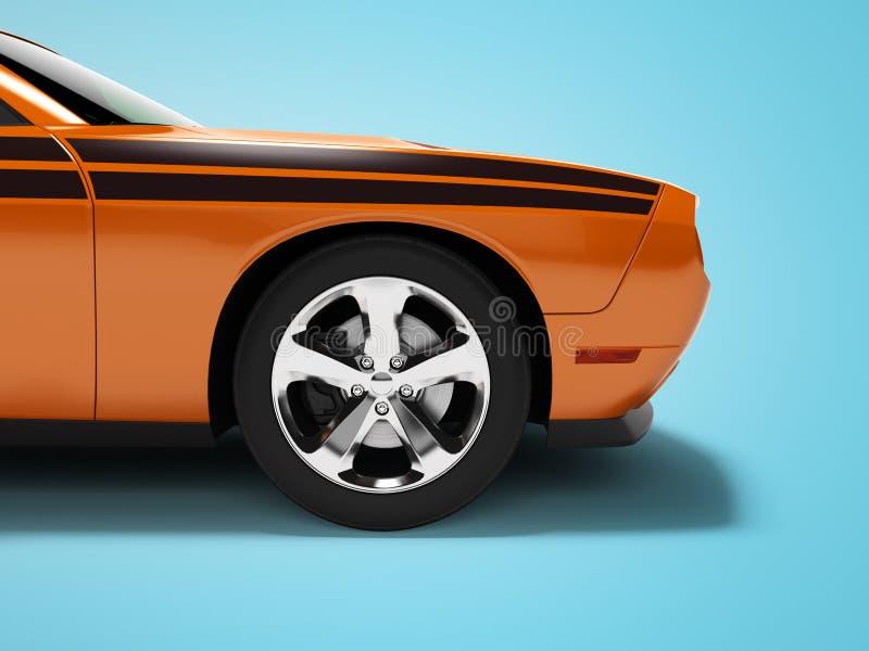 现代概念橙色跑车前面3d回报在与阴影的蓝色背景 皇族释放例证
