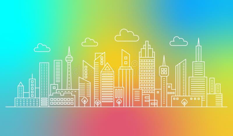 现代概述线时髦传染媒介梯度混合颜色背景的城市摩天大楼 向量例证
