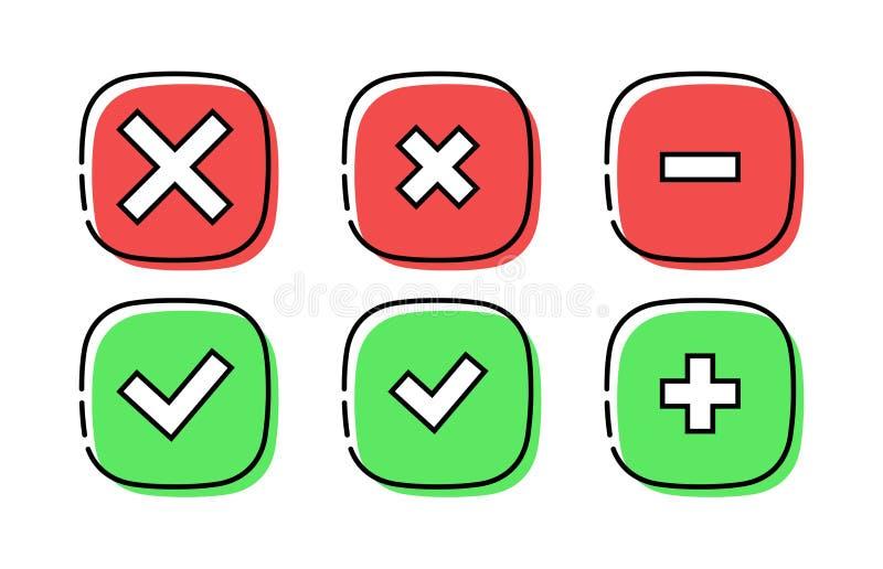 现代正确和不正确象 真实和错误标志 E 向量例证