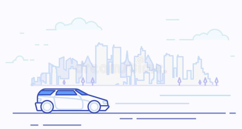 现代汽车在城市 向量例证