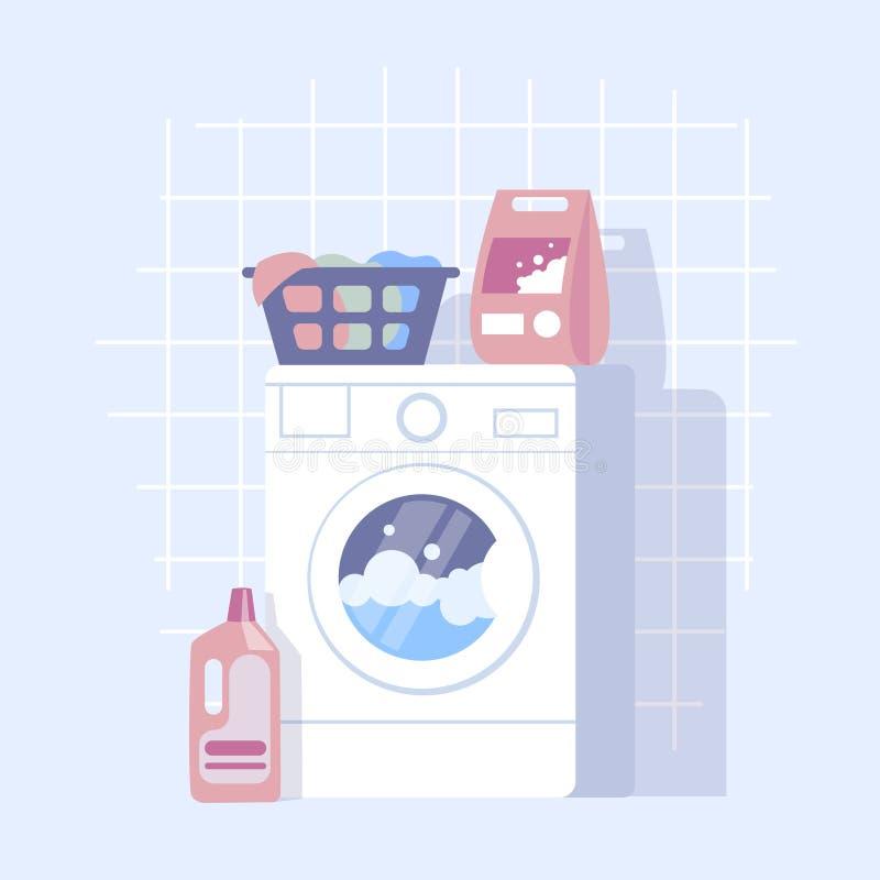 现代洗衣店的平的设计例证与洗衣机的 皇族释放例证