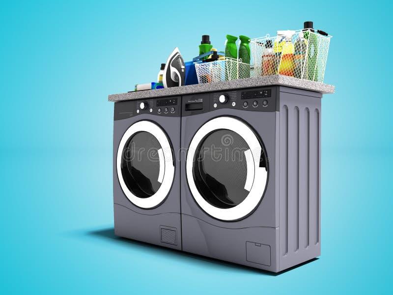 现代洗衣机和烘干机事的3d在蓝色背景回报与阴影 库存例证