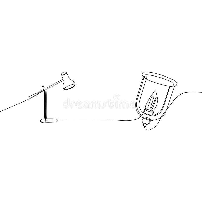 现代灯和蜡烛灯一线实线站立装饰的落地灯点燃 向量例证