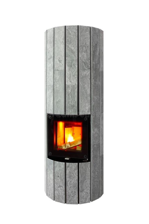 现代灰色大理石设计师电壁炉  库存图片