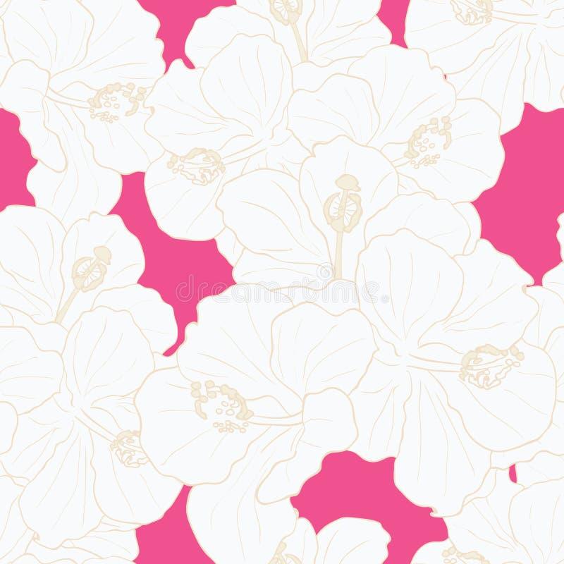 现代热带花无缝的样式设计 库存例证