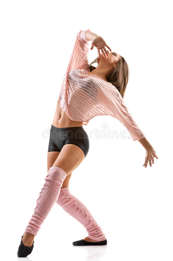 现代现代风格妇女跳芭蕾舞者。 免版税图库摄影